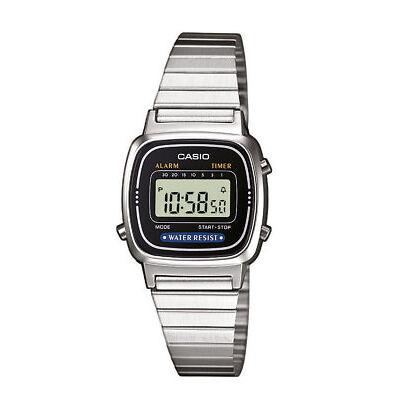 Casio Collection Damenuhr LA670WEA-1EF Digital Silber
