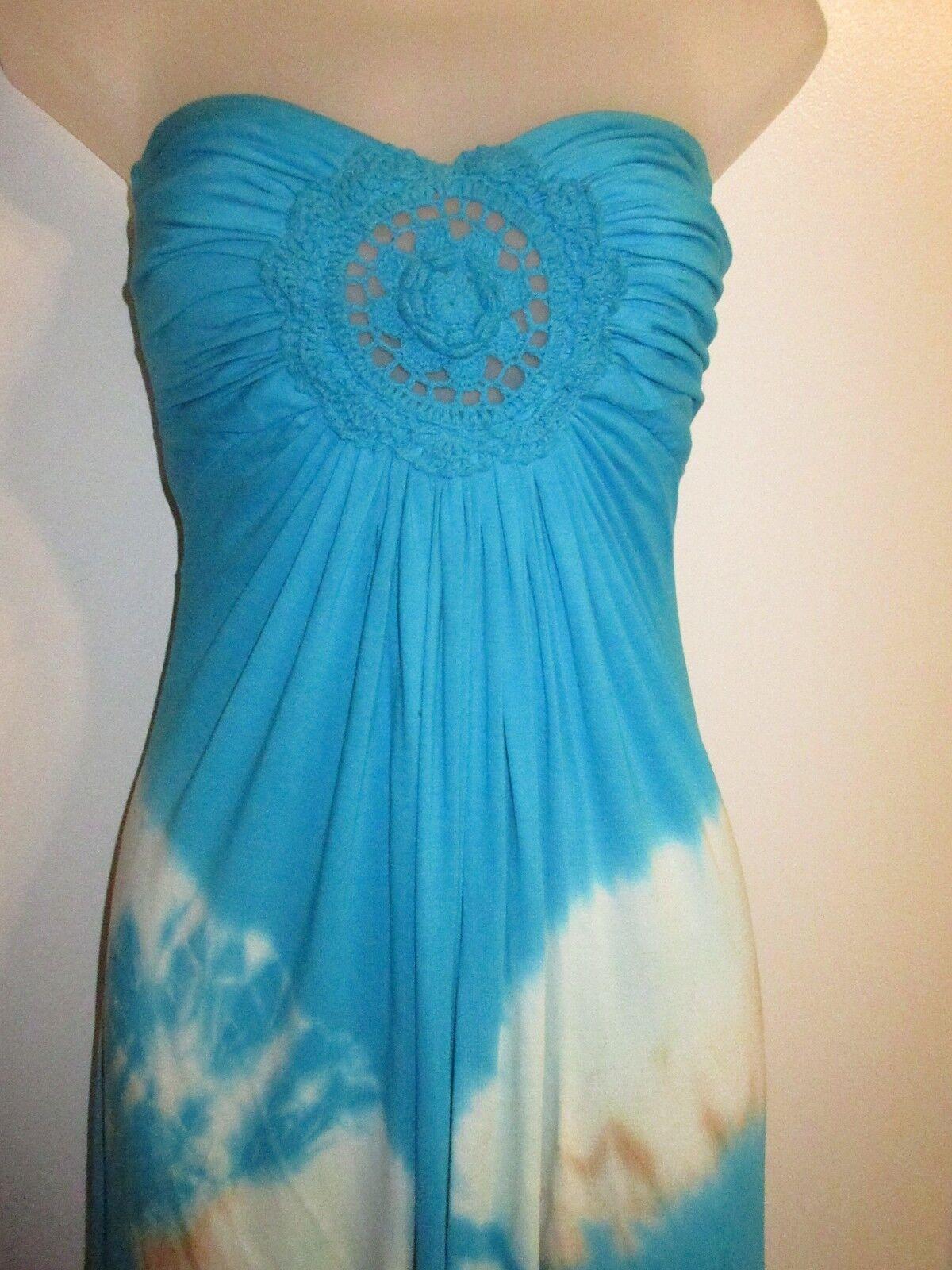 Sky Clothing Brand XS Maxi Dress Bright Blau Tie Dye Pattern Knit Crochet Beach
