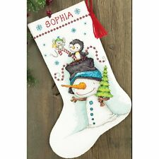"""COUNTED CROSS STITCH Christmas Stocking KIT Jolly Trio Dimensions 16"""" Long"""