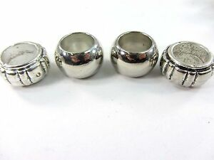 4 x Silver Brass Scarf Rings Beads For Decorating On Fashion Scarf Hole 34