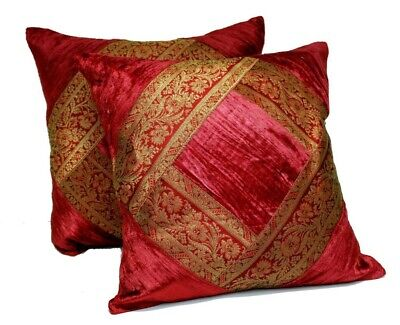 10 Traditional Banarsi Silk UK Red Cases Toss Cushion Covers Wholesale Lot | eBay
