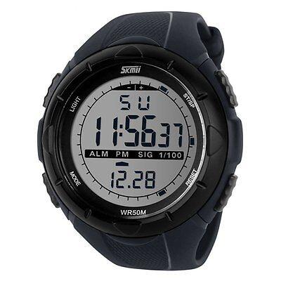 Wasserdicht Sportuhr Herren Damen Sport Quarz Analog LED Armbanduhr