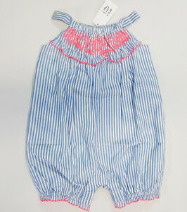 NWT-Baby-Gap-Girls-Size-3-6-12-Months-Blue-Striped-Embroidered-Bubble-Romper