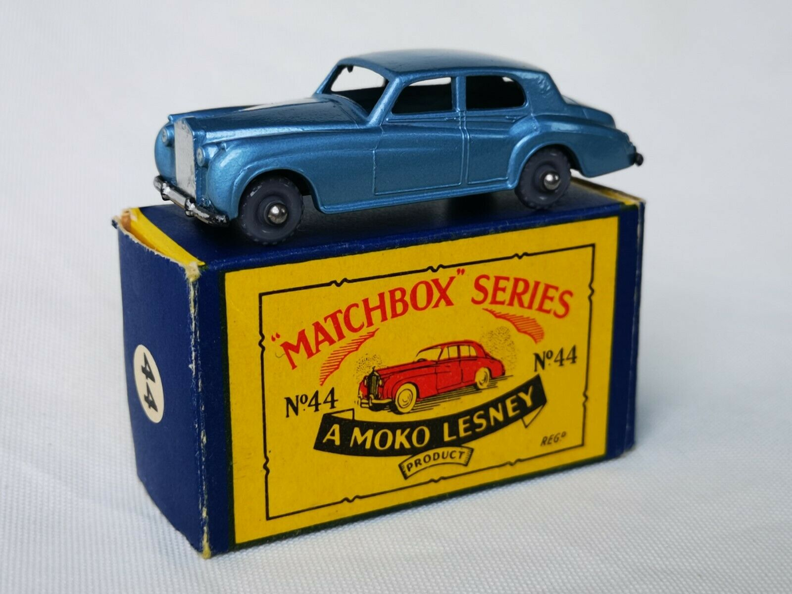 Matchbox Lesney Moko no. 44 Rolls Royce plata Cloud Boxed