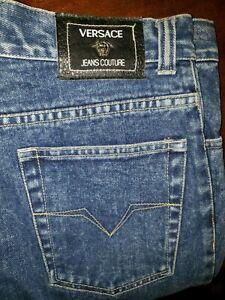 Autentico Vintage Versace Couture Par De Pantalones Vaqueros Del Dril De Algodon Para Hombre Talla 33 Ebay