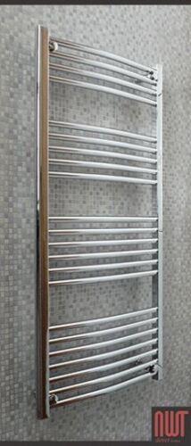 Curved Chrome 300W Electric Heated Towel Rail w 600mm Radiator x 1200mm h
