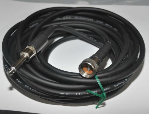 """20/' Black Harp Mic Cable 1//4/"""" Plug to 2501F Astatic JT30 /& Shure PE585 Mics"""