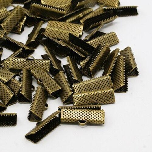 10 Fermoirs Griffes Métal couleur Bronze 20mm x8mm Attaches Ruban Embouts