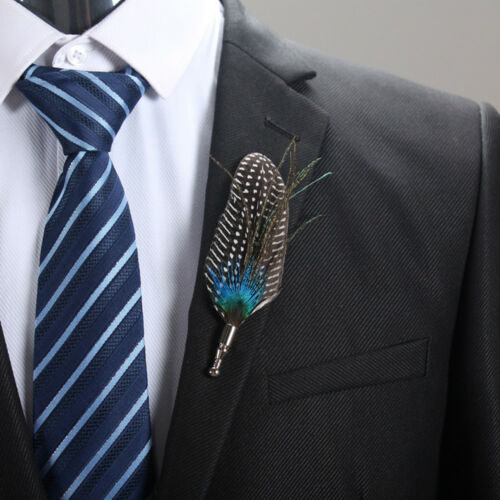 Peacock Feather Brooch Tuxedo Shirt Suit Collar Boutonniere Corsage Button NEW