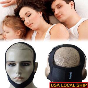 Snore Stop Belt Anti Snoring Support Cpap Chin Strap Sleep Apnea Jaw Black US 663862252439