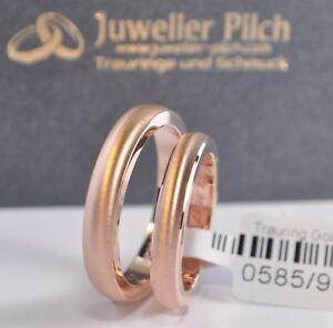 1 Paar Trauringe Eheringe Hochzeitsringe Gold 585 Rotgold Breite