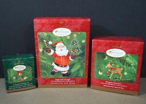 Lot-of-3-Hallmark-Christmas-Ornaments-Collector-039-s-Club-Set-2000-Santa-Deer-Mouse