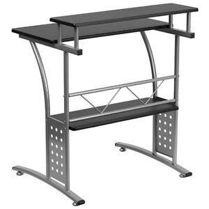 Clifton Black Computer Desk Raised Top Shelf 847254054331