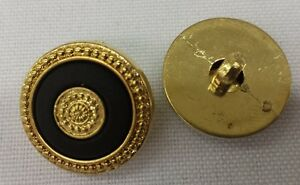 Gold-Plastic-Buttons-w-Black-and-Gold-Inlay-Set-of-10-3-4-034