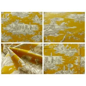 Coupon-fabric-toile-de-jouy-story-water-fd-mustard