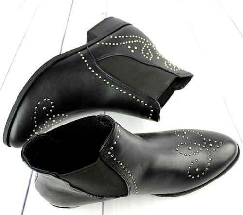 Femmes faux cuir noir clous argentés à Talon Plat Cheville Chaussures Chelsea Motard