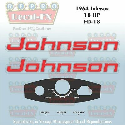 1965 Johnson 18HP FD-19 Sea Horse Outboard Reproduction 4 Pc Marine Vinyl Decals