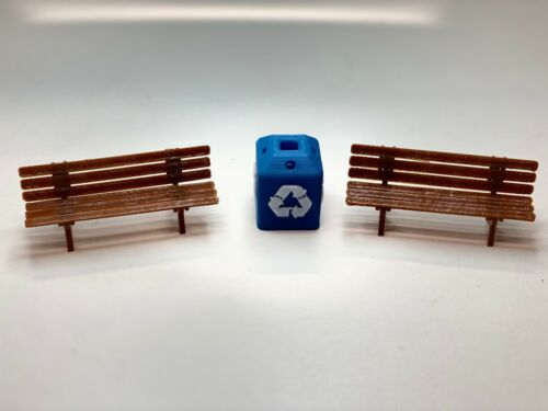 Platform Accessories Multicolor G scale Bench kit dark with Recycle Can