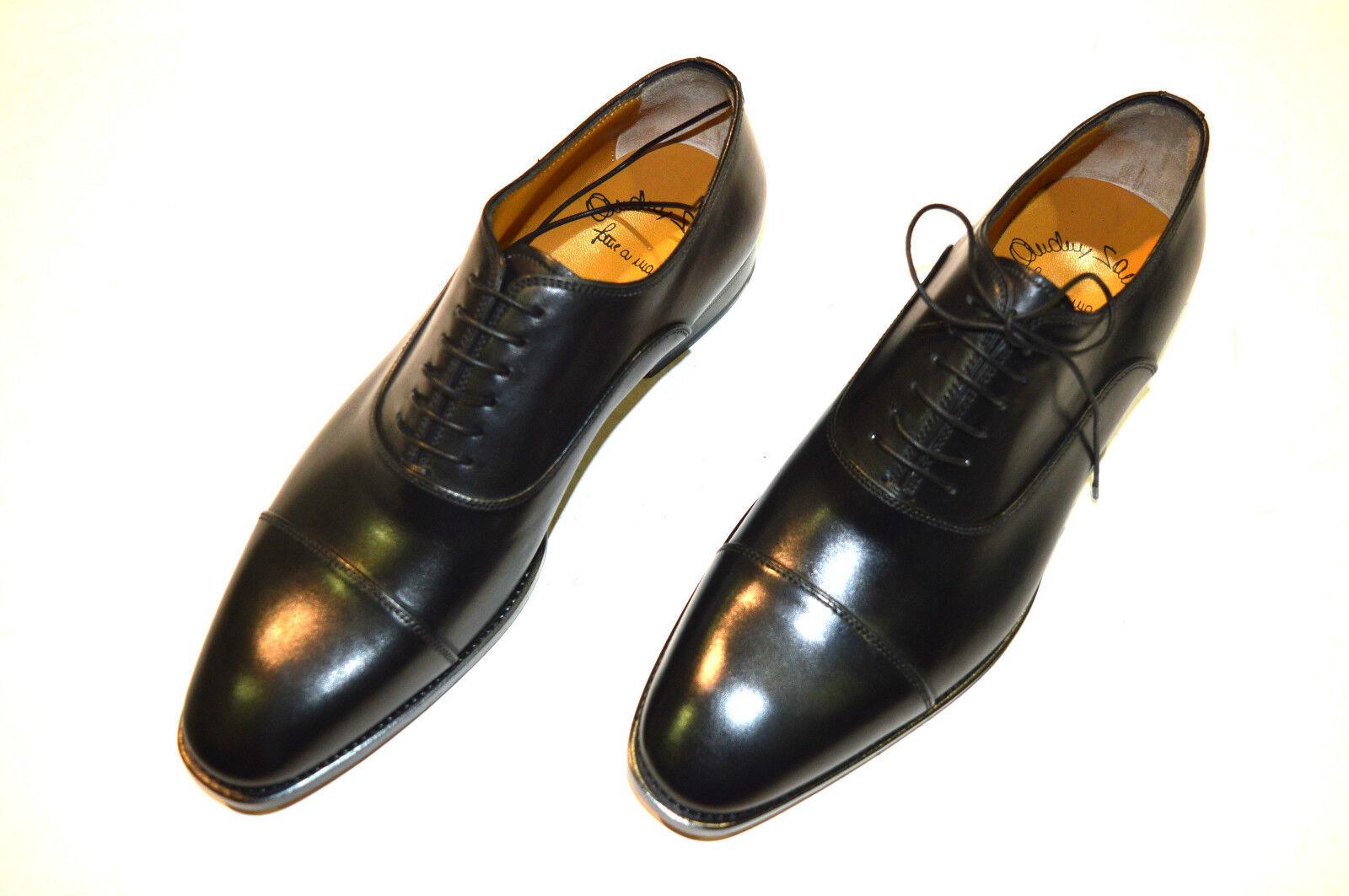 NEW SANTONI Dress Black Leather shoes  SIZE Eu 40 Uk 6 Us 7 (8R)