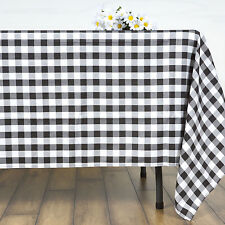 """Black White Checkered 70"""" Square Polyester Tablecloth Picnic Country Linens"""