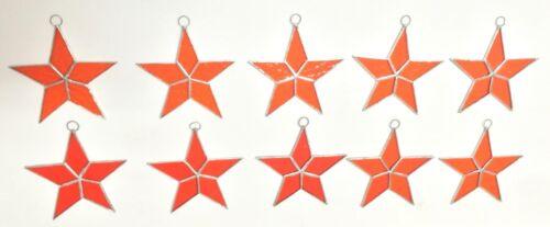 Lot of 10  Stained Glass Flat STARS Iridescent ORANGE Suncatcher Ornaments !