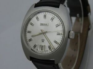 NOS NEW SWISS MADE MECHANICAL HAND WINDING MEN'S REVUE ANALOG WATCH WITH DATE