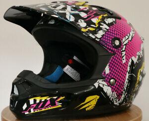 Fox Racing 2019 Black Yellow Youth V1 Czar Helmet Off Road MX ATV 21781-019