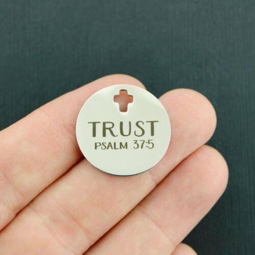 Trust Stainless Steel Charm BFS3210 Psalm 37:5 Cross