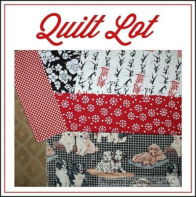 BonEful Fabric COTTON SCRAP QUILT LOT Red Black White Dog Dot Check Asian Flower