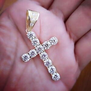 10-Ct-Diamond-Cross-Pendant-with-Chain-14K-Yellow-Gold-over-Womens-Mens-Necklace