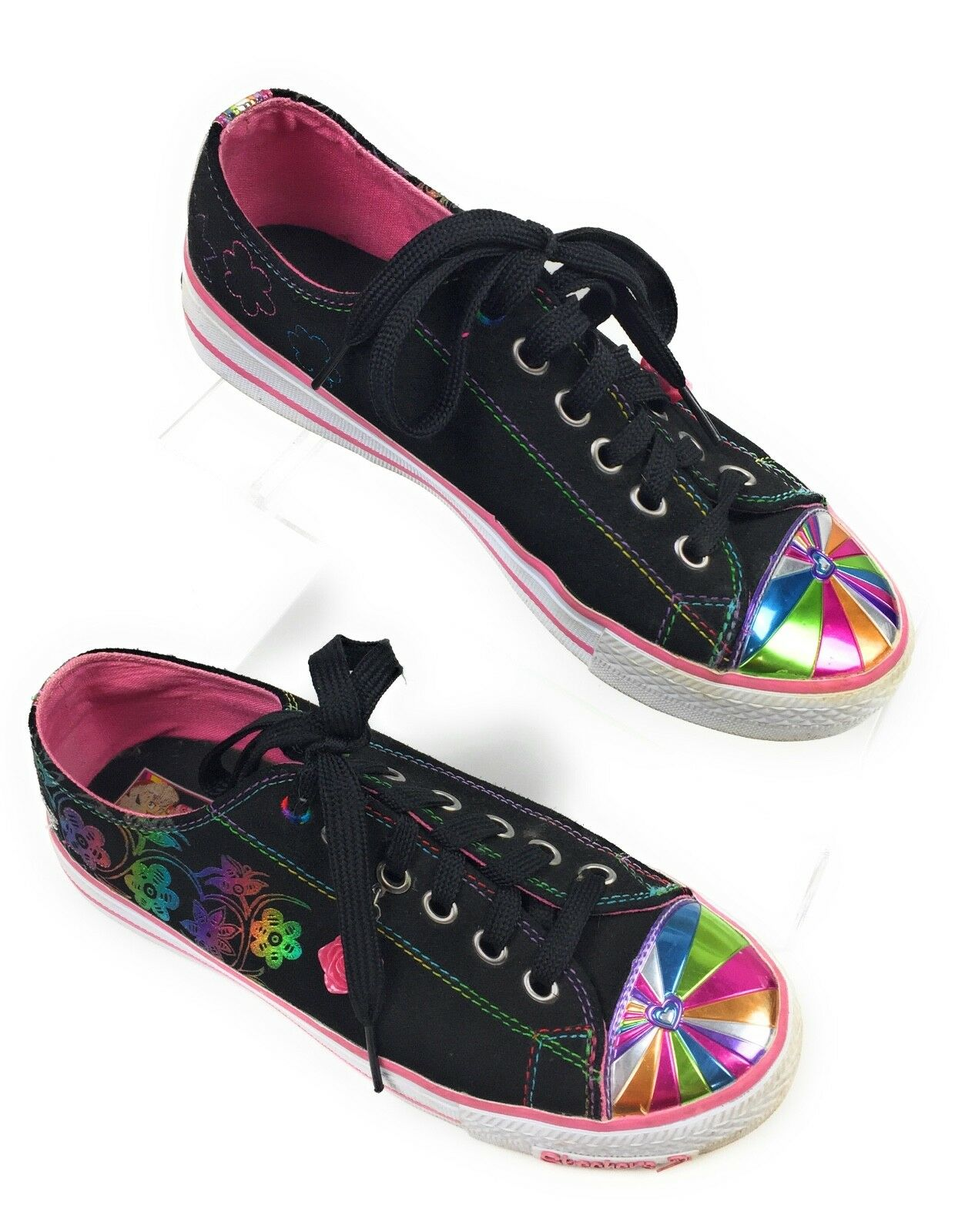 Skechers Fashion Sneakers Sporty Shorty Black, Rainbow Trim Women's 5 US, 37 EUR The latest discount shoes for men and women