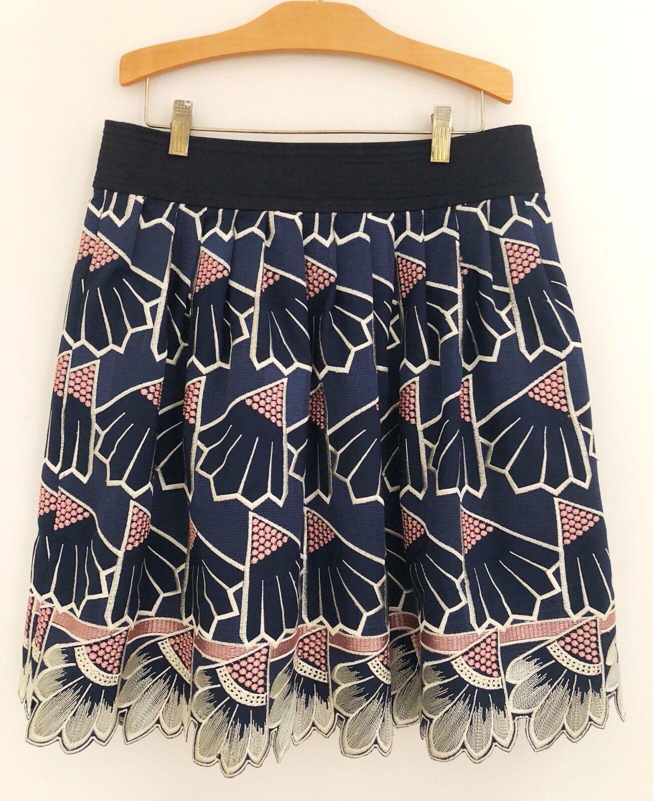 LAUREN MOFFATT Women Daisy Quarters Skirt Sz 10 bluee Embroider Silk Lined EUC