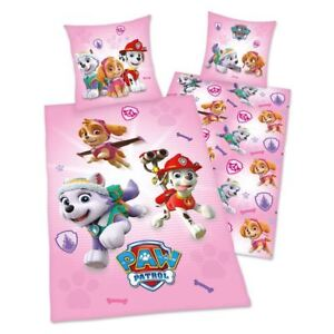 Paw-Patrol-Rose-Housse-Couette-Simple-Set-Coton-Enfants-Literie-2-IN-1-Design