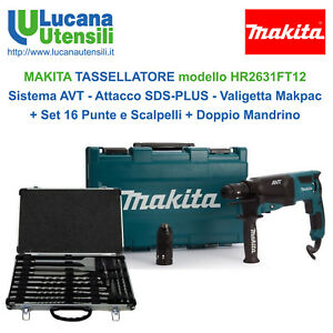 MAKITA-TASSELLATORE-model-HR2631FT12-SDS-PLUS-Kit-Valigia-Punte-Doppio-Mandrino