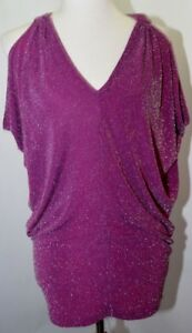 Top Metallic Keyhole Manches Femmes Sans Purple Retour Shirt Angeles Devinez Los Plum wSzqpAC