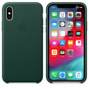 premium selection 361c1 8ef29 Details about FOREST GREEN iPhone Original Apple Genuine Leather Case XS  Max(6.5) Official
