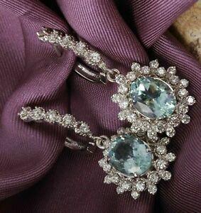 4Ct-Oval-Cut-Aquamarine-Diamond-Drop-Dangle-wedding-Earring-14K-White-Gold-finis