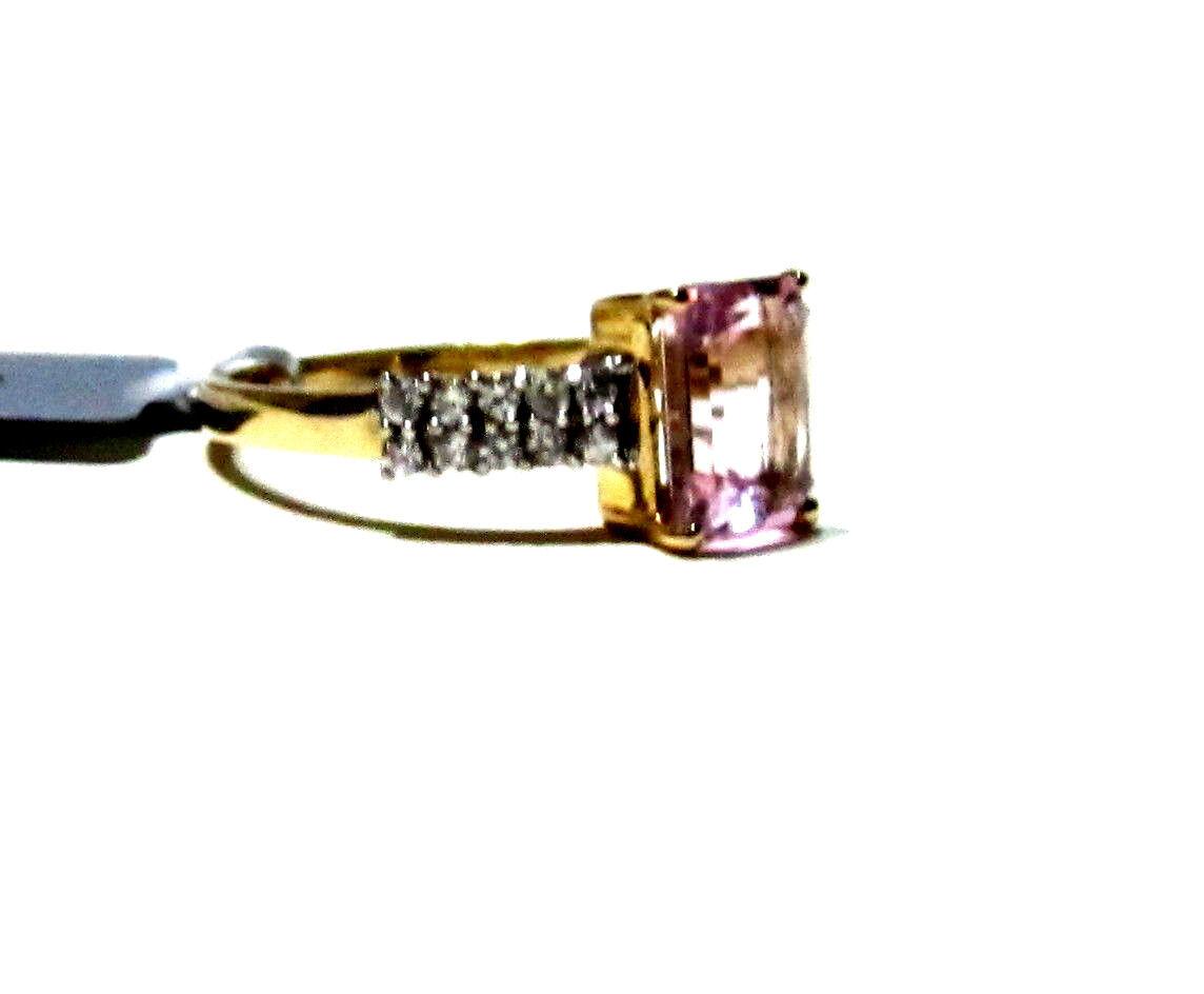 10K Yellow gold Pink Kunzite Octagon & W Zircon Ring, Size 7, 2.29(TCW), 1.62GR