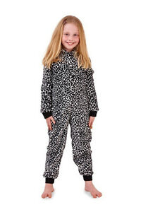Nifty Kids 3D Leopard All In One Girls Novelty Hooded Animal Print Sleepsuit