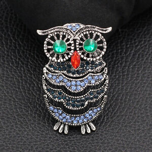 Betsey-Johnson-Blue-Crystal-Rhinestone-Owl-Charm-Animal-Brooch-Pin-Jewelry-Gift