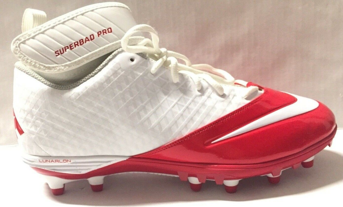 NEW! Nike Lunar Superbad Pro TD Mid Football Cleats 534994 Red/white Men's 17  Wild casual shoes