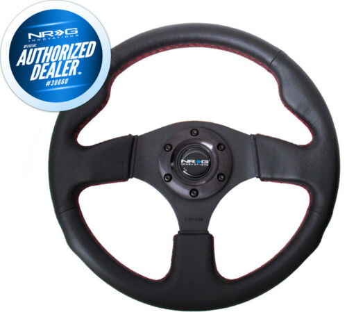 NEW NRG Leather Steering Wheel w// Red Stitch 320mm Type-R Style RST-012R-RS
