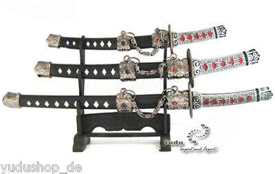 Füller & Schreibartikel 3er Samurai Schwerten Set Brieföffner Mit Ständer Hk32-3 äSthetisches Aussehen