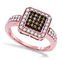 Nice Style 100% 10k Rose Gold Chocolate Brown & White Diamond Ring Band .55ct