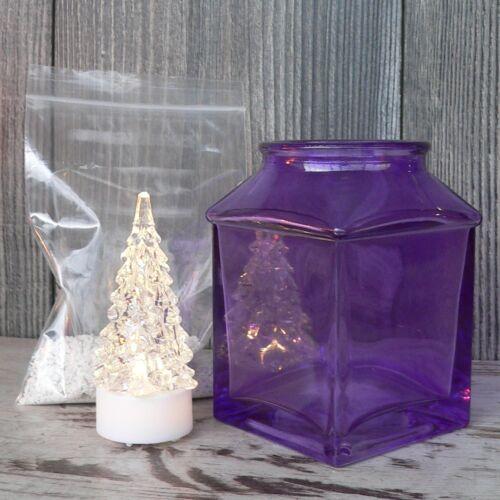 Windlicht lila mit LED Tanne und Dekosand weiß Tischdeko Adventsdeko Glas NEU