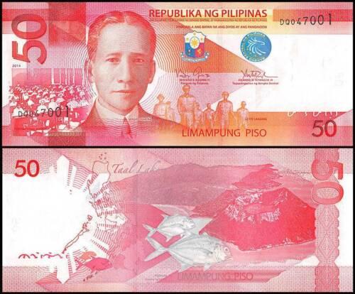 PHILIPPINES 50 PESOS 2014 UNC MacARTHUR/'S LEYTE LANDING OF 1944,SERGIO OSMENA AT
