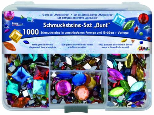 """Größen Formen Farben Schmucksteine Hobby Line /""""Bunt/"""" 1000 Glitzersteine versch"""