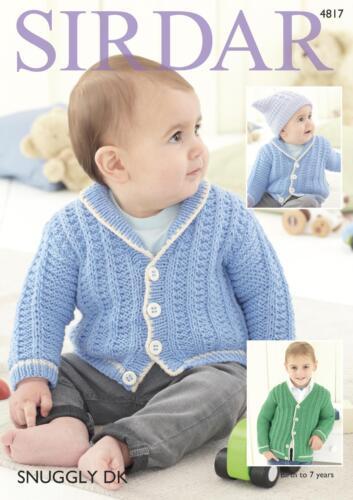 Sirdar 4817 Knitting Pattern Baby Childrens Cardigans in Sirdar Snuggly DK