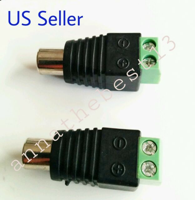 2 Pcs Speaker Wire Cable to Female RCA Connector Adapter Jack Plug ...