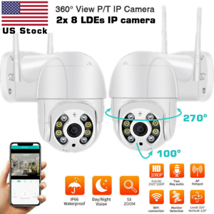 2 x HD 1080P IP Camera Outdoor WiFi PTZ CCTV Security Wireless Smart Home IR Cam